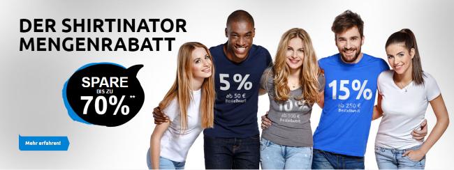 Der Shirtinator Mengenrabatt - Spare bis zu 70%