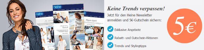 Jetzt für Heine Newsletter anmelden und 5€ Gutschein sichern