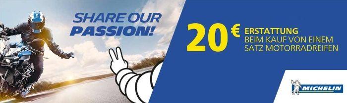 20€ Erstattung beim kauf von einem Satz Michelin Motorradreifen!