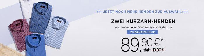 Zwei Kurzarm-Hemden zusammen nur 89.90€ statt 119.90€ bei eterna!