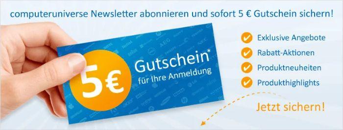 computeruniverse Newsletter abonnieren und 5€ Gutschein sichern!