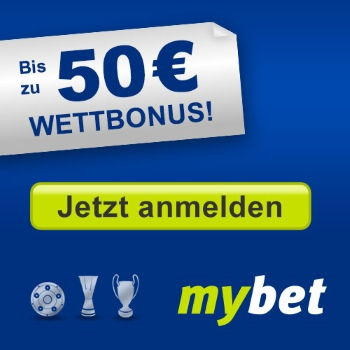 mybet: Bis zu 50€ Wettbonus - Jetzt anmelden!