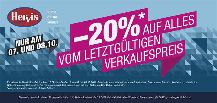 10 € Hervis Gutscheincode » Gutschein Nov 2020